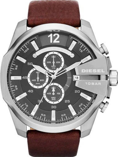 Diesel Mega Chief Brown Leather Men's Watch-DZ4290