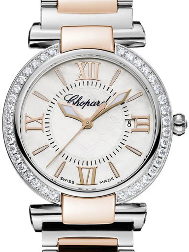 Chopard Imperiale Mother of Pearl Dial Steel and 18kt Rose Gold Ladies Watch-388541-6004