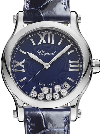 Chopard Happy Sport Blue Dial Diamonds Women's Watch-278559-3008