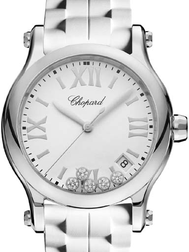 chopard happy sport 36 mm white dial watch-278582-3001