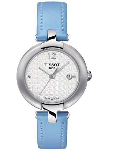 Tissot Pinky White Dial Blue Leather Woman's Watch-T0842101601702