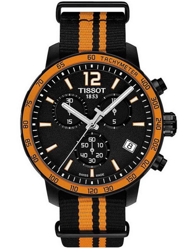 Tissot Quickster Chronograph Black Dial Black Synthetic Band Men's Sports Watch-T0954173705700