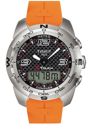 Tissot Racing-Touch Black Chronograph Dial Orange Rubber Strap Men's Watch T0025201705101-T002.520.17.051.01