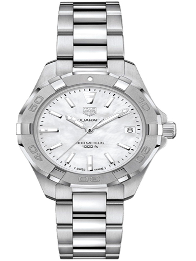 tag heuer aquaracer white mother of pearl dial ladies watch-WBD1311.BA0740