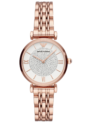 emporio rose gold glitz stainless steel ladies watch-AR11244I