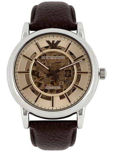 Emporio Armani AR1982 Luigi Skeleton Automatic Men's Dress Brown Leather Watch-AR1982
