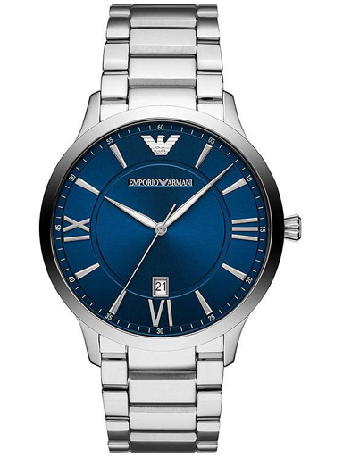 emporio armani giovanni round analog blue dial men's watch-AR11227I