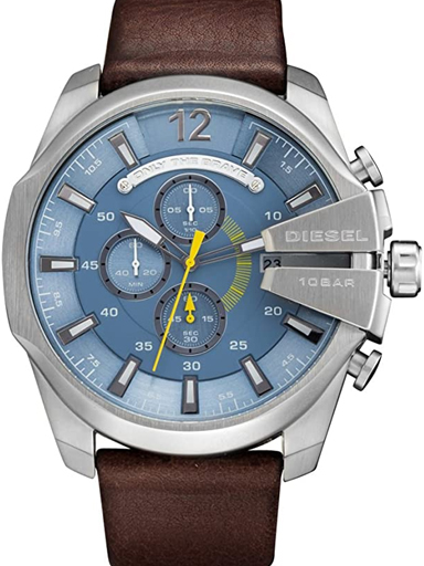 Diesel Mega Chief Chronograph Light Blue Dial Brown Leather Men's Watch DZ4281-DZ4281