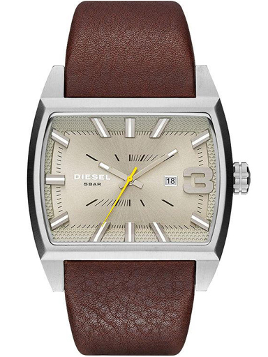 Diesel Starship Beige Dial Dark Brown Leather Men's Watch-DZ1704