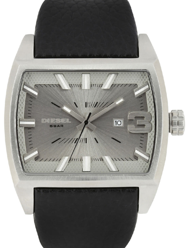 Diesel Starship Silver Dial Black Leather Men's Watch-DZ1674I