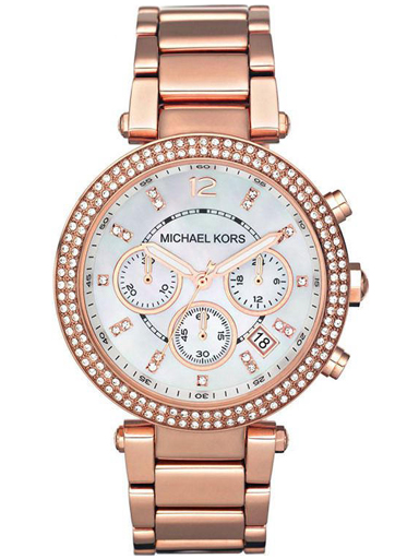 Michael Kors Parker Stainless Steel Watch With Glitz Accents-MK5491I