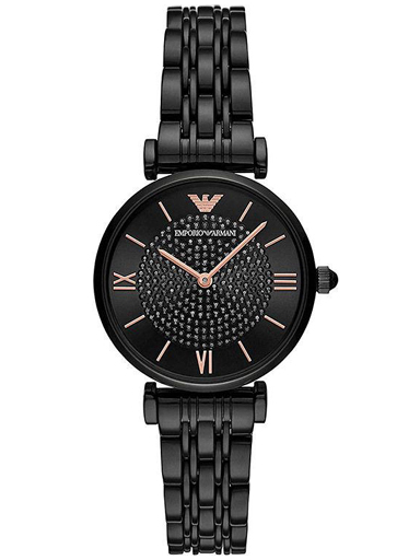 emporio armani round analog black dial women watch-AR11245I