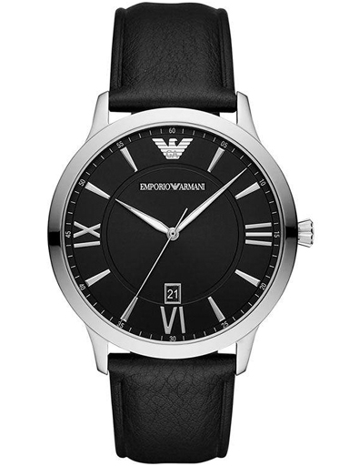 emporio armani giovanni quartz black dial black leather men's watch-AR11210I