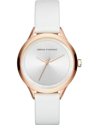 ARMANI EXCHANGE Womens Harper White Dial Leather Analogue Watch - AX5604I-AX5604I