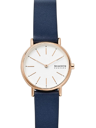 Skagen Signatur Two-Hand Blue Leather Watch-SKW2838I
