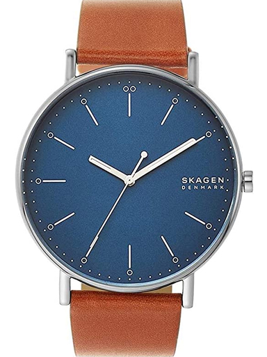 Skagen Signatur Blue Dial Brown Leather Watch-SKW6551I