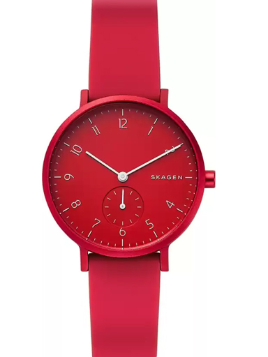 skagen aaren kulor red silicone unisex watch-SKW2765