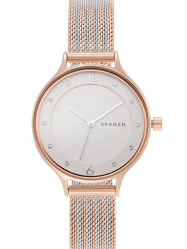 skagen anita two-tone steel ripple-mesh watch-SKW2749