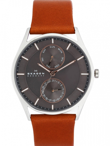 skagen holst brown leather multifunction watch-SKW6086I