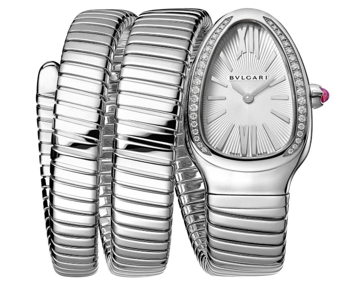 Bvlgari Serpenti Tubogas Silver Opaline Dial Quartz Ladies Watch-101910