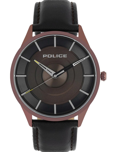 Police Brown Dial Brown Leather Strap Men's Watch-NBPL15399JSBN12