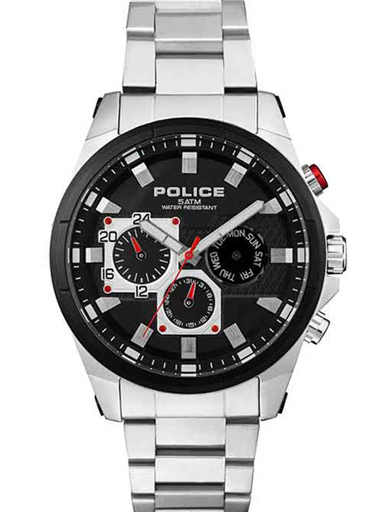 Police Multi-function Round Analog Black Dial Mens Watch-PL15541JSTB02M
