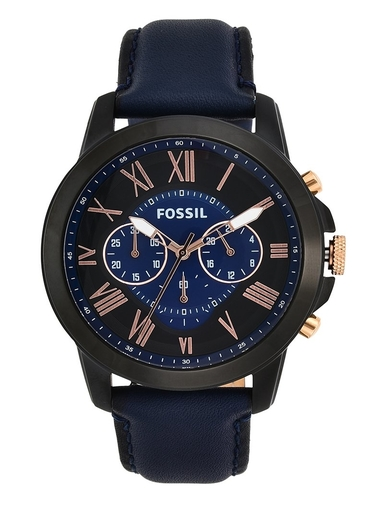 Fossil Grant Chronograph Navy Leather Watch-FS5061IE