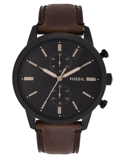 fossil townsman chronograph brown leather watch-FS5437