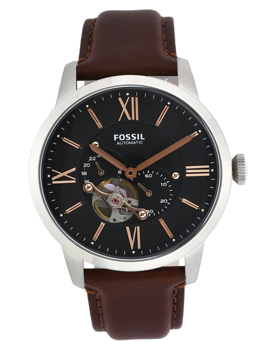 fossil townsman round analog black dial men's watch-ME3061
