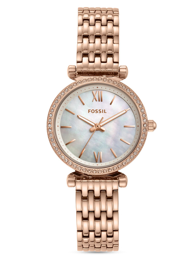 fossil carlie mini three-hand rose gold stainless steel watch-ES4648I