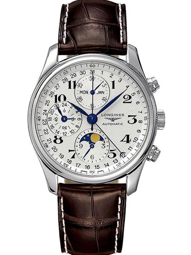 Longines Masters Automatic Chronograph White Dial Brown Leather Men's Watch-L26734785