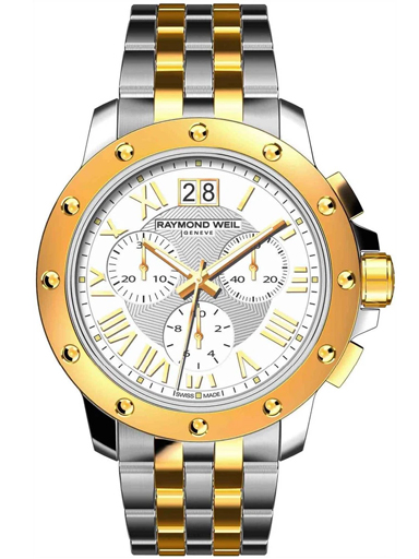 Raymond Weil Tango Chronograph 18 kt Yellow Gold Plated and Stainless Steel Men's Watch-4899-STP-00308