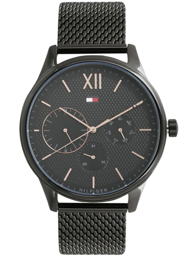 tommy hilfiger multi-function black dial black metal strap men's watch nbth1791420-NBTH1791420