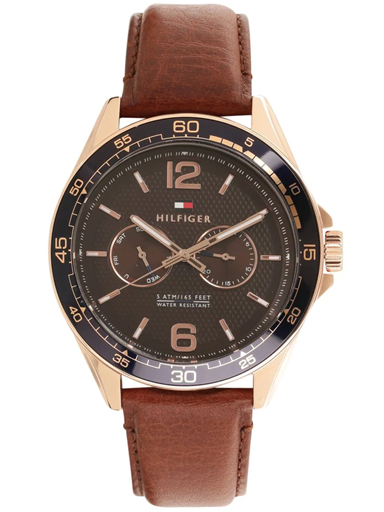tommy hilfiger multi-function brown dial brown leather strap men's watch th1791367-TH1791367