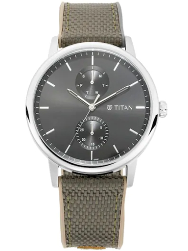 titan athleisure grey multi-function dial men's watch 90118sp02-90118SP02