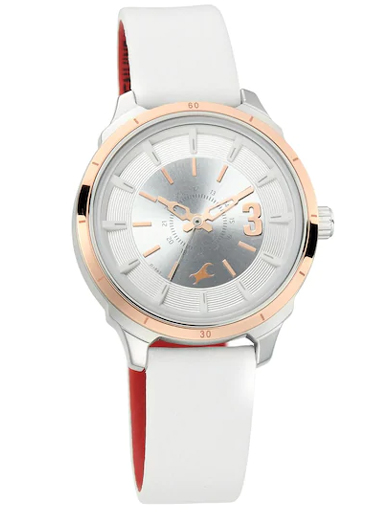fastrack all nighters white dial leather strap watch-6187KL01