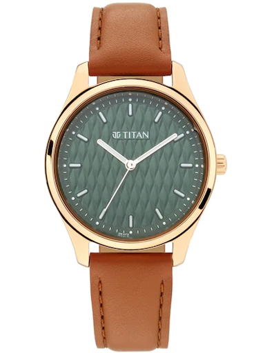 titan work wear green dial & leather strap women's watch 2639wl01-2639WL01