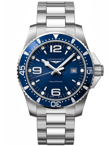 longines hydroconquest blue dial stainless steel men's 44mm watch-L3.840.4.96.6