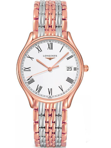 longines lyre white matt dial ladies bi-color stainless steel watch-L4.359.1.11.7