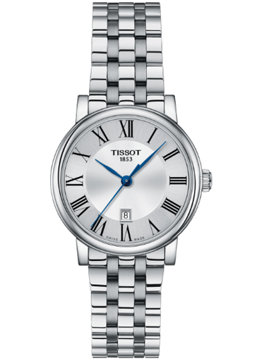 tissot t-classic carson premium stainless steel silver dial women's watch-T122.210.11.033.00
