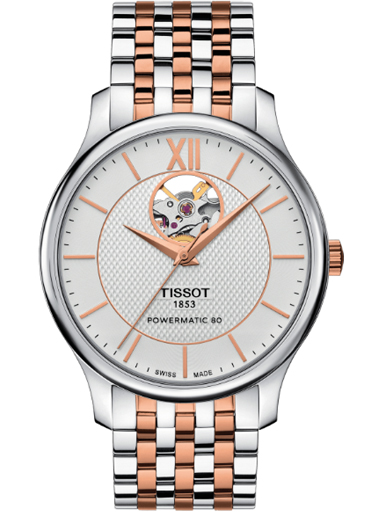 Tissot Tradition Powermatic 80 Open Heart Silver Dial Watch for Men-T063.907.22.038.01
