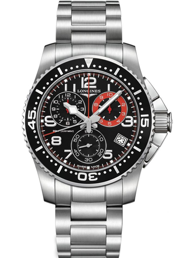 Longines HydroConquest Chronograph Black Dial Stainless Steel Men's Watch-L3.690.4.53.6