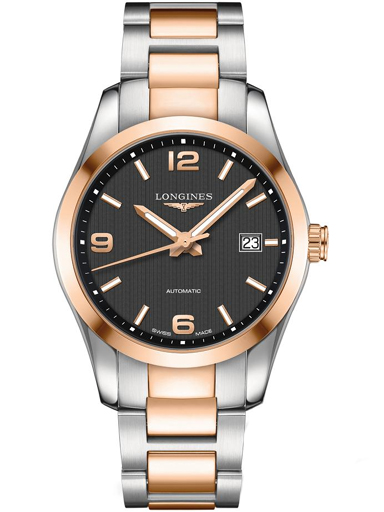 conquest classic automatic black dial two-tone men's watch-L2.785.5.56.7