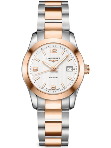 longines conquest automatic silver dial 18kt rose gold stainless steel ladies watch-L2.285.5.76.7