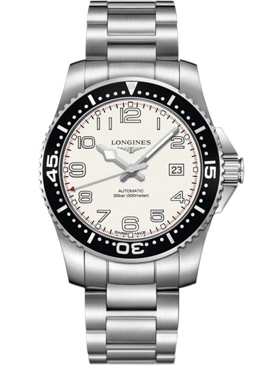 longines hydro conquest white dial black bezel stainless steel men's watch-L3.695.4.13.6