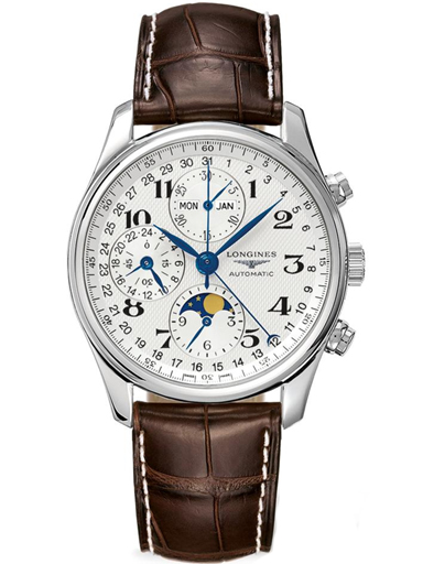 Longines Masters Automatic Chronograph White Dial Brown Leather Men's Watch-L2.673.4.78.5