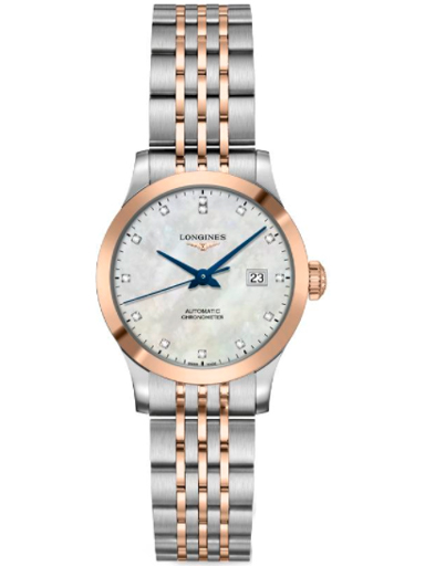 longines record automatic diamond white mother of pearl dial ladies watch-L2.321.5.87.7