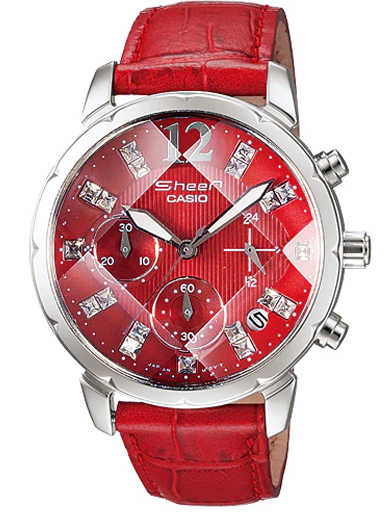 Casio Sheen Chronograph Red Dial Women's Watch - SHN-5010L-4ADR (SH157)-SH157