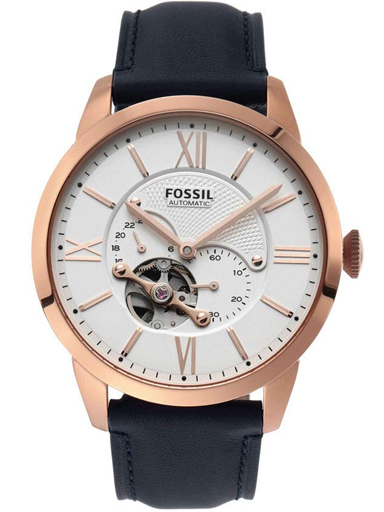 fossil townsman automatic navy leather watch-ME3171