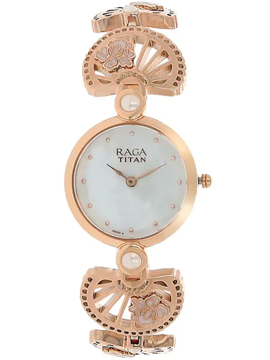titan raga aurora mother of pearl dial metal strap women's watch nk2567wm01-NK2567WM01